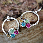 Vintage Rainbow Stone Circle Dangle Earrings