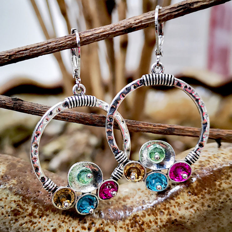 Vintage Rainbow Stone Circle Dangle Earrings - $9 PROMO FREE SHIPPING TODAY ONLY