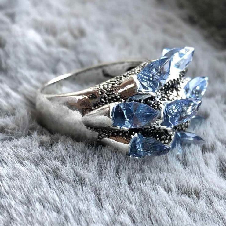 Vintage Punk Blue Zircon Crystal Rings