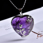 Natural Crystal Quartz Heart Pendant