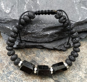Natural Black Tourmaline Stone Black Lava Bracelet - $14 PROMO FREE SHIPPING TODAY ONLY