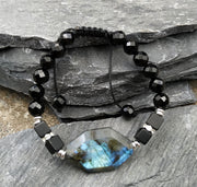 Labradorite & Protective Tourmaline Bracelet - $14 PROMO FREE SHIPPING TODAY ONLY