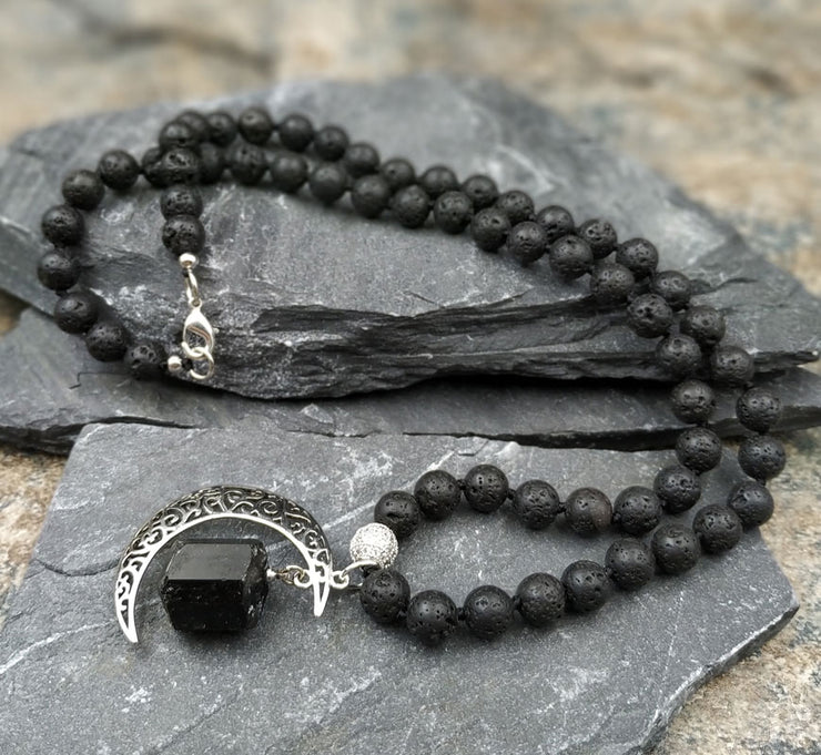 Black Tourmaline Moon Pendant Necklace - $29 PROMO FREE SHIPPING TODAY ONLY