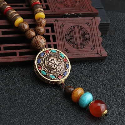 Buddhist Mala Wood Beaded Necklace - $9 PROMO FREE SHIPPING TODAY ONLY
