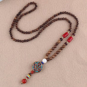 Buddhist Mala Wood Beaded Necklace