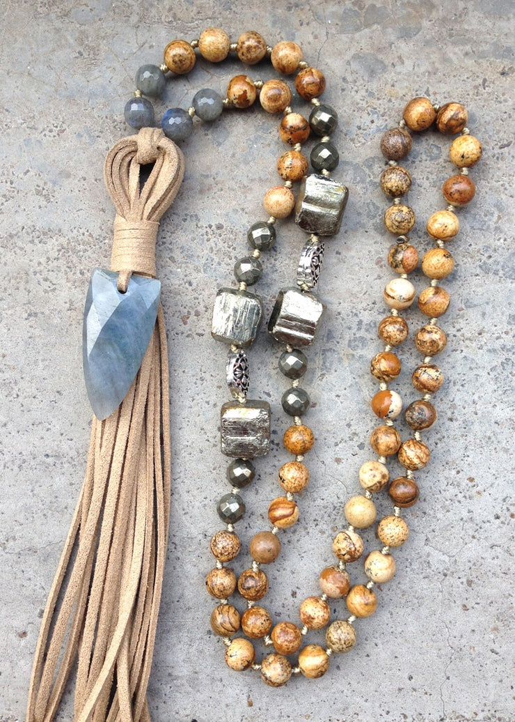 Picture Jasper, Hematite and Labradorite Mala with Arrowhead and Leather Tassel