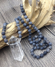 Quartz With Dragon Agate Mala Bead Necklace