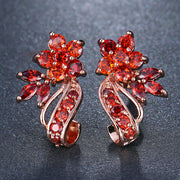 Cubic Zirconia Flower Stud Earrings