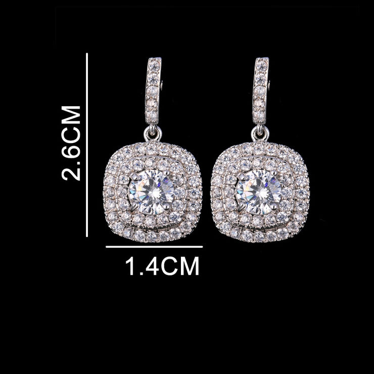 Classic Square Drop Cubic Zirconia Earrings