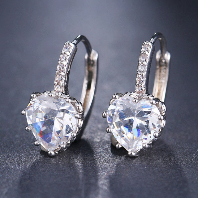 Cubic Zirconia and Rhinestone Heart Earrings