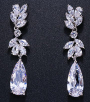 Cubic Zirconia Water Drop Dangle Earrings