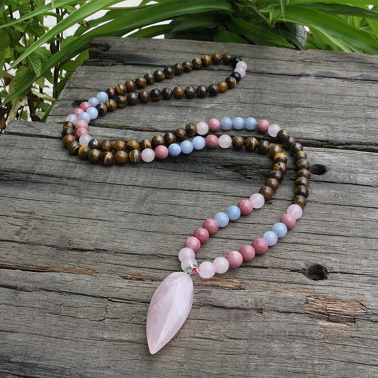 108 Bead Tiger's Eye And Rhodochrosite Mala Necklace