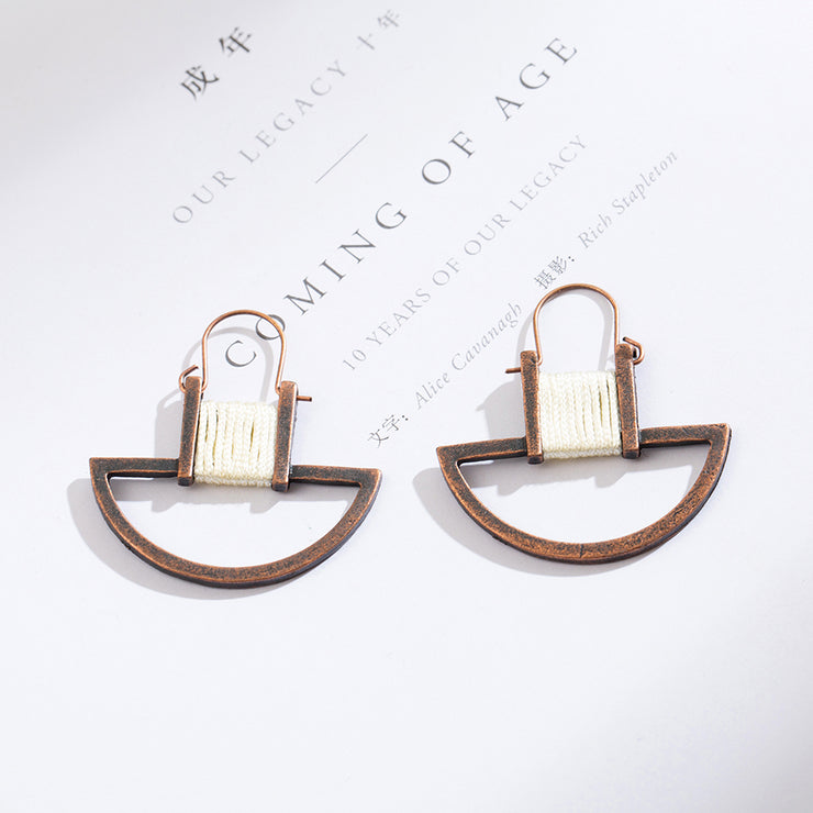 Antique Geometric String Drop Earrings