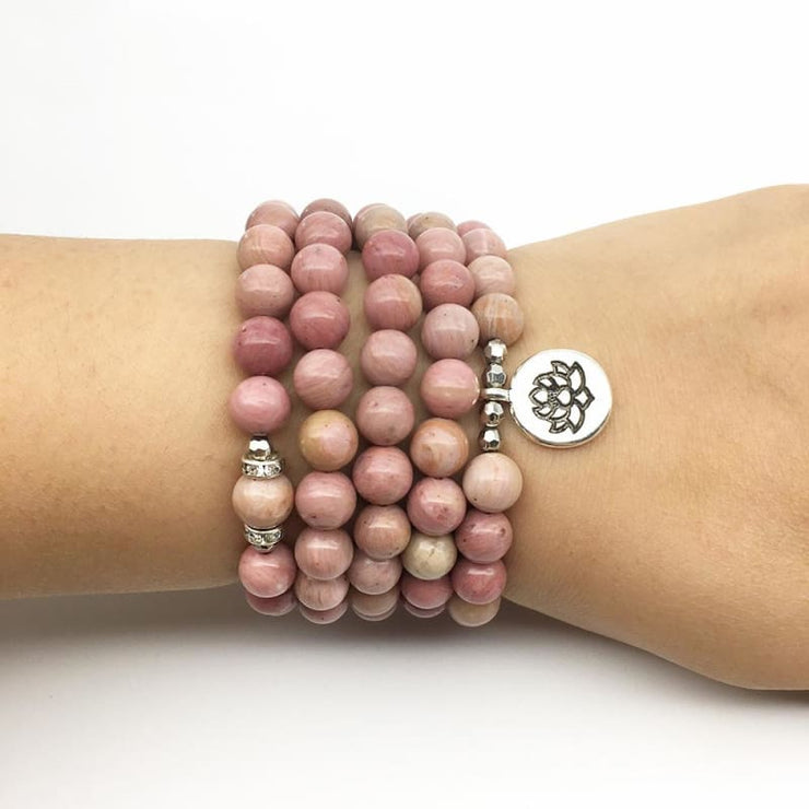 Rhodonite And Mala Beads Healing Bracelet