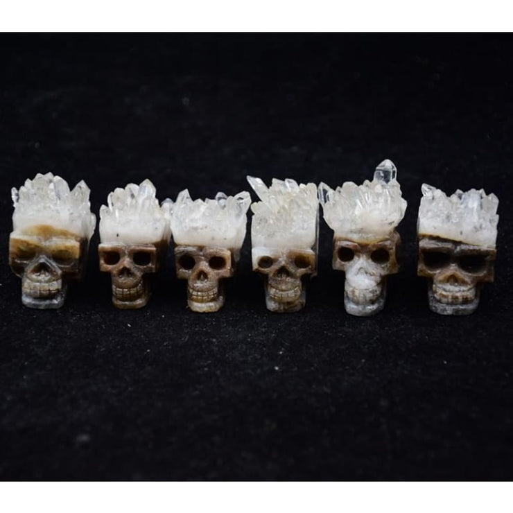 Rocker Mini Quartz Cluster Carved Skull