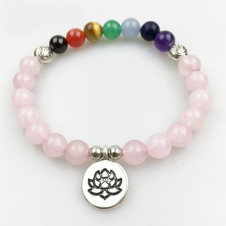 Rose Quartz And Chakra Stones Mala Bead Bracelet