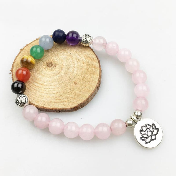 Rose Quartz And Chakra Stones Mala Bead Bracelet - Lotus Charm
