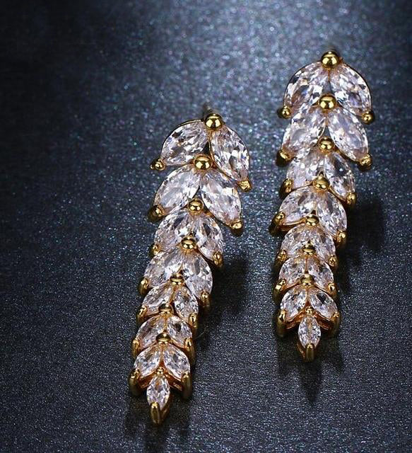 Cubic Zirconia Salix Leaf Shaped Earrings