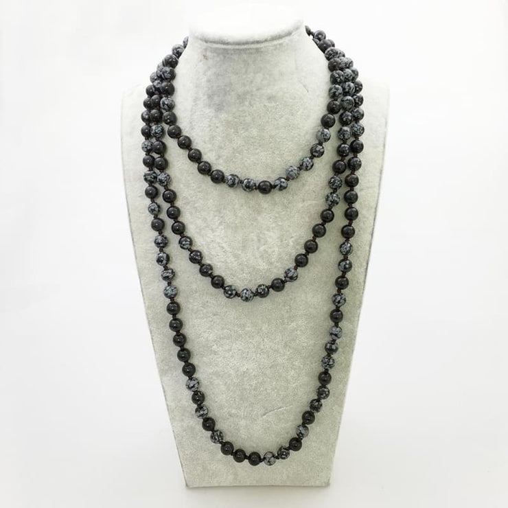 Snowflake Stone Mala Bead Necklace