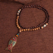 Tribal Bodhi Bead Fish Pendant Necklace