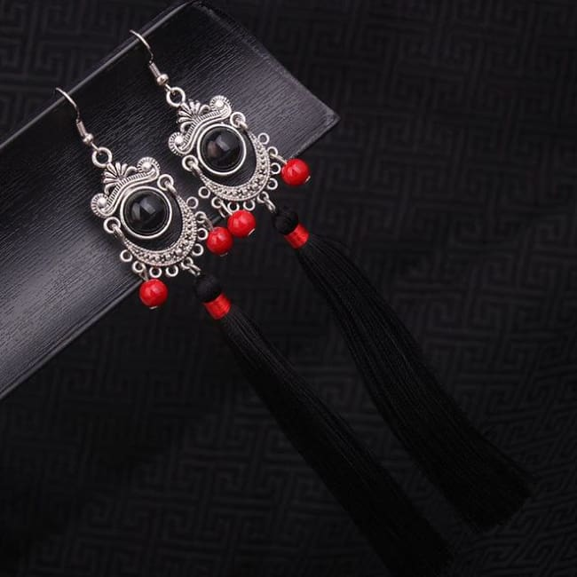 Tribal Miao Silver Fringe Earrings - Black