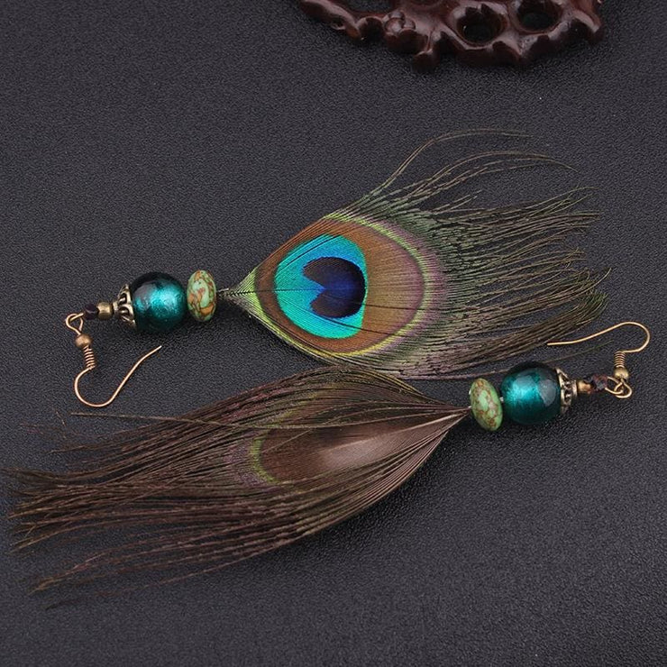 Tribal Peacock Feather Earrings