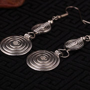 Tribal Silver Spiral Earrings