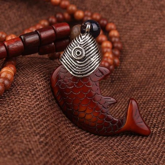 Tribal Wooden Fish Beaded Necklace