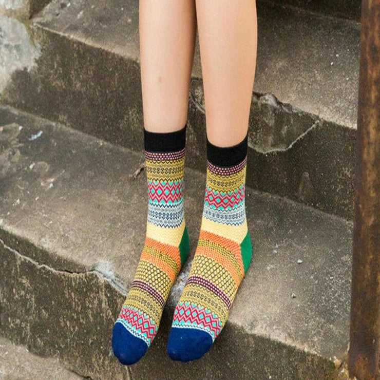 Unisex Colorful Striped Cotton Socks