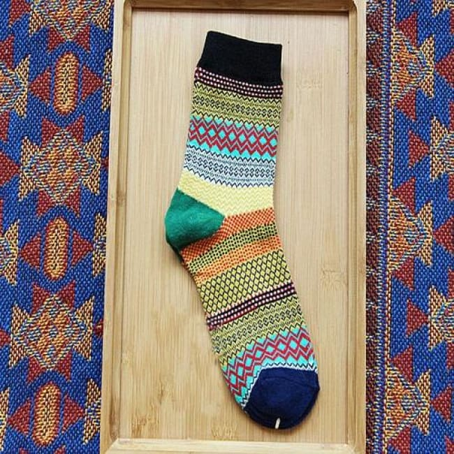 Unisex Colorful Striped Cotton Socks - Black