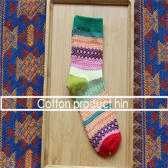 Unisex Colorful Striped Cotton Socks - Green