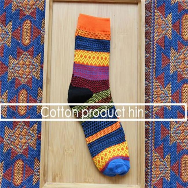 Unisex Colorful Striped Cotton Socks - Orange