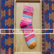 Unisex Colorful Striped Cotton Socks - Pink