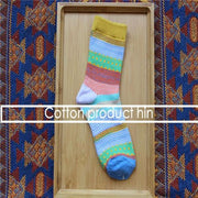 Unisex Colorful Striped Cotton Socks - Yellow