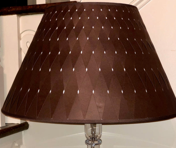 "Chocolate Woven Paper Empire Lamp Shade - (9"" top x 18"" bottom x 11"" slant)"