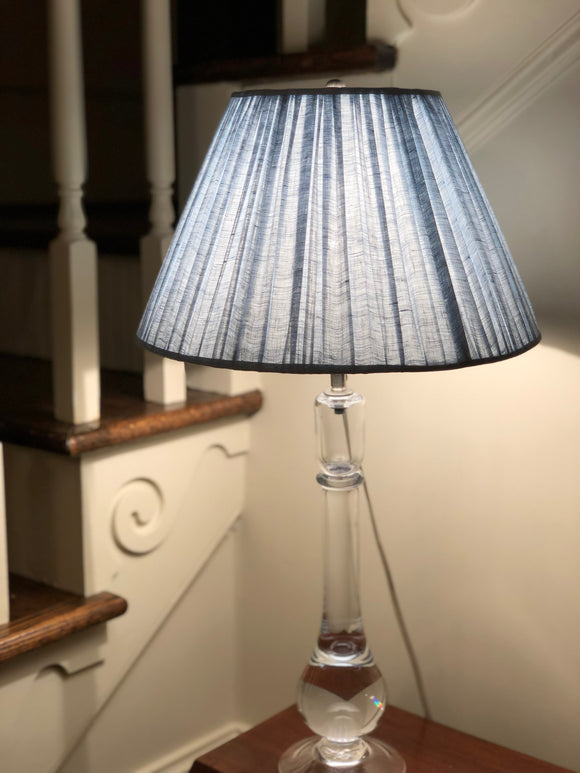 Gathered Light Blue Linen Empire Lamp Shade Trade     (7