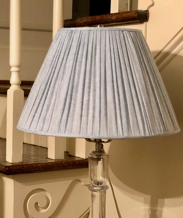 "Gathered Light Blue Linen Empire Lamp Shade Trade     (7"" top x 14"" bottom x 9"" slant)"