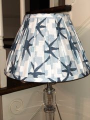 "Gathered Light Blue Pattern Linen Empire Lamp Shade Trade (6"" top x 12"" bottom x 8.5"" Slant)"