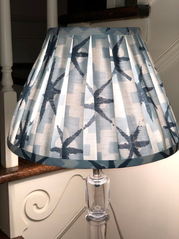 "Gathered Light Blue Pattern Linen Empire Lamp Shade (6"" top x 12"" bottom x 8.5"" Slant)"