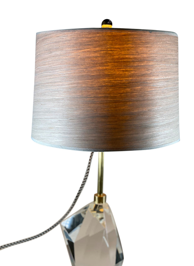 "Wood Veneer Lamp Shade; gold tape trim - 10"" x 11"" x 8"""