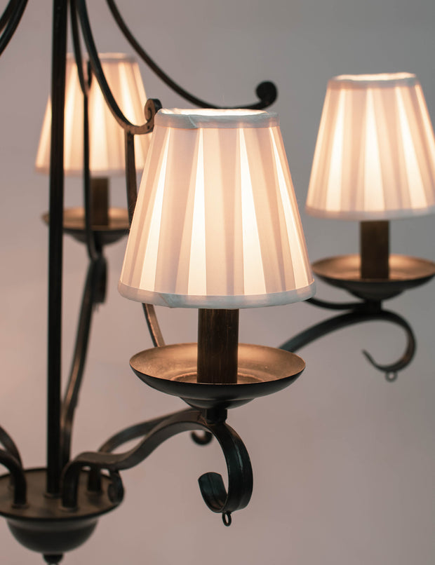 Box Pleat Silk Chandelier Lamp Shade - Available in three sizes