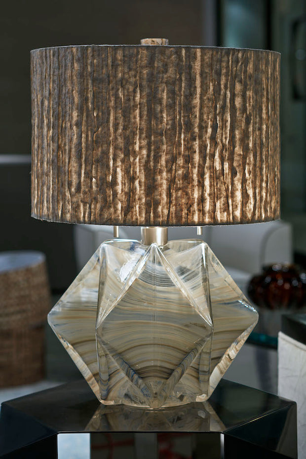 "16"" Drum Pearla Hand-Gilded Kozo and Abaca Pulp Lamp Shade - Trade"