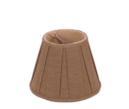 Mocha Box Pleat Linen - Empire Chandelier - 6""