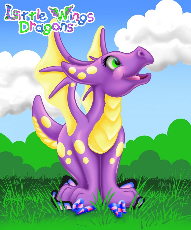 Adorable purple baby dragon with light yellow spots, belly, and wings. Shes standing on a fairy looking up into the sky trying to figure out where it went.