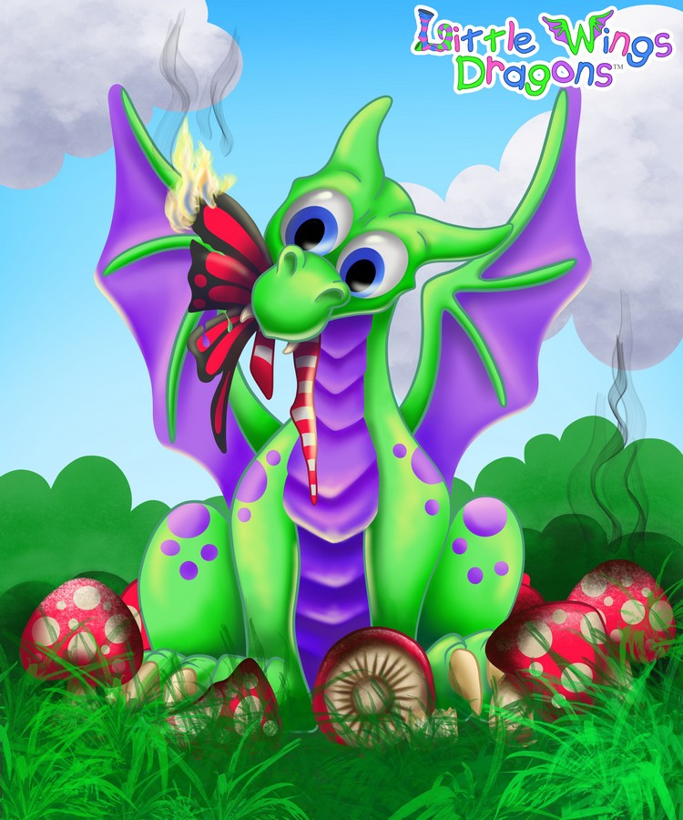 Baby green dragon with purple spots and belly, a fairy in his mouth. He's in a mushroom ring.