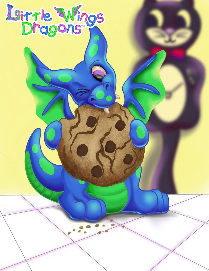Adorable blue dragon with green spots and belly eating a cookie thats half his size