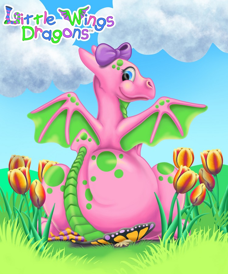 Cute oink baby dragon with green spots, belly, and wings. Shes sitting on a red and orange fairy in a field of tulips