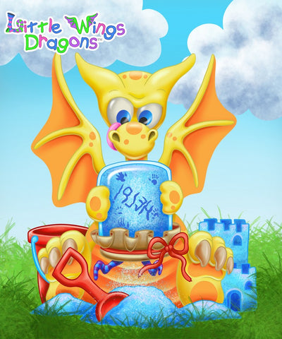 Sunny yellow cute baby dragon with orange spots, belly and wings. He's holding a fairy in a jar shaking it to get the blue sparkles so he can work on his glitter sand castle.