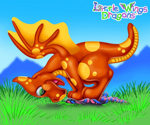 Orange Baby Dragon playing tag with a fairy. The fairy is loosing the game.