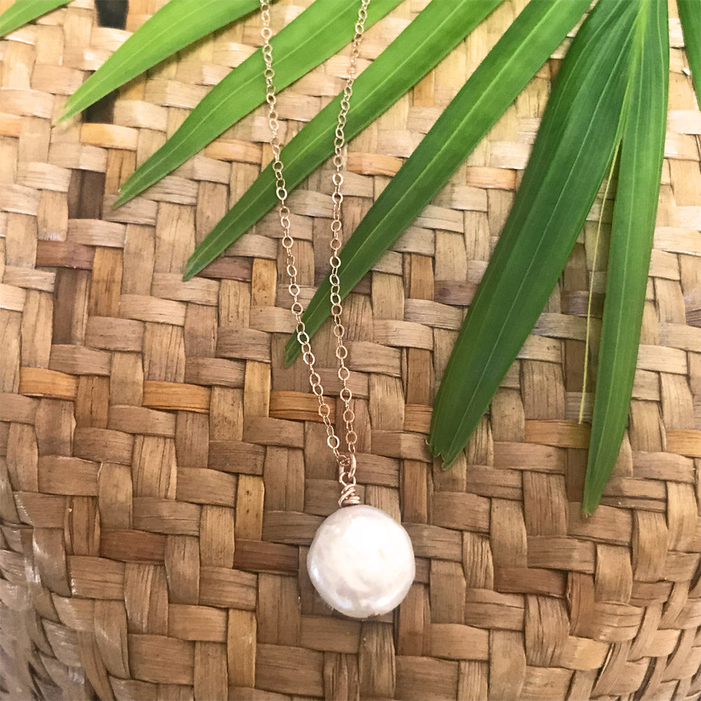 Organic freshwater pearl coin 14k rose gold filled necklace